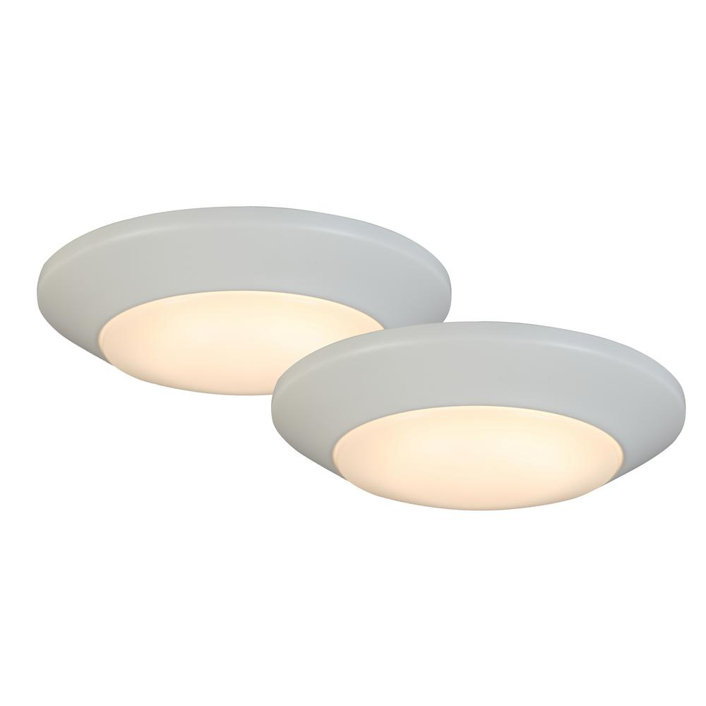 Commercial Electric 7 in. White LED Mini Flush Mount (2-Pack)