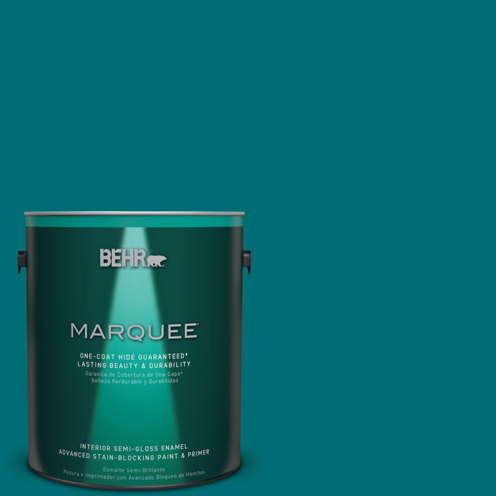 Behr marquee 1 gal mq6 35 teal motif one coat hide semi - Best one coat coverage interior paint ...