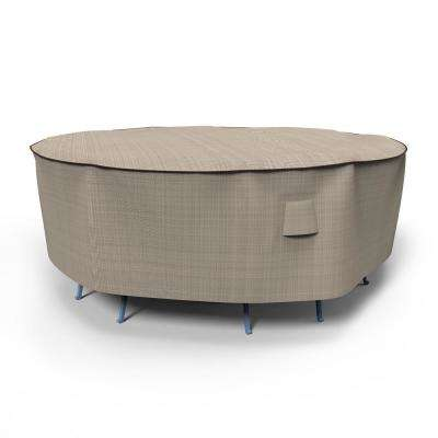 NeverWet Mojave Medium Black Ivory Round Table and Chairs Combo Cover