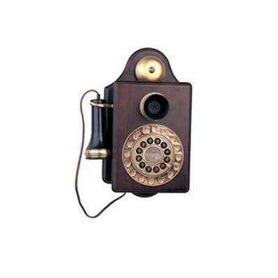 Corded 1903 Antique Wall Replication Telephone with Faux Rotary Dial