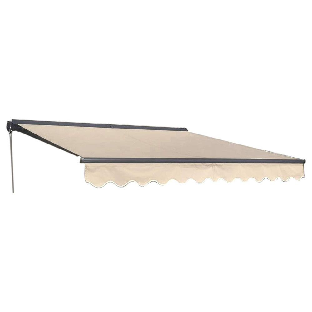Aleko 10 Ft Half Cassette Retractable Awning 96 In Projection In Ivory Awc10x8ivory29 Hd The Home Depot