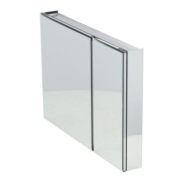 36 in. W x 26 in. H Frameless Recessed or Surface-Mount Bi-View Bathroom Medicine Cabinet with Beveled Mirror