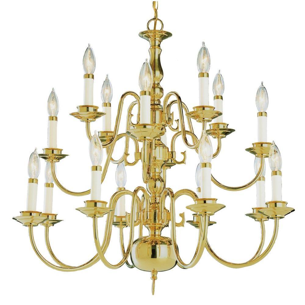 Bel Air Lighting Stewart 16-Light Polished Brass Incandescent Ceiling Chandelier