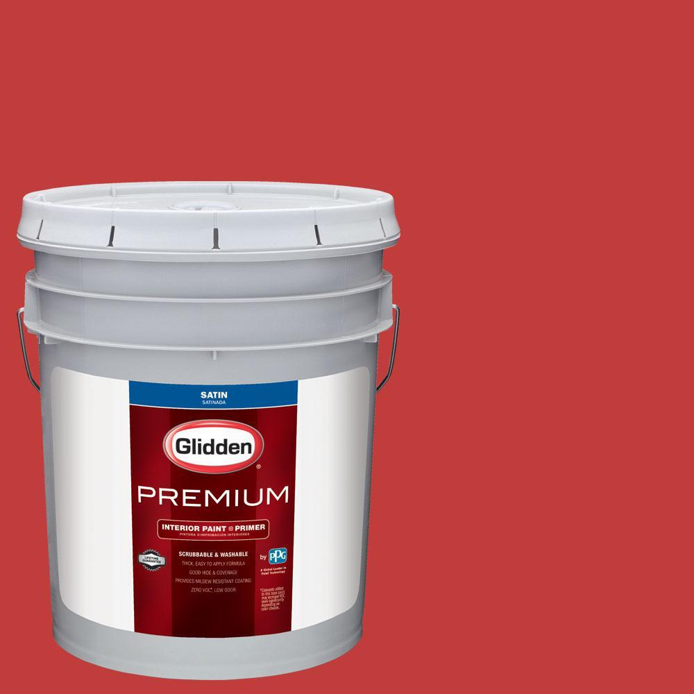 Glidden Premium 5 gal. #NHL-007H Chicago Blackhawks Dark Red Satin Interior Paint with Primer