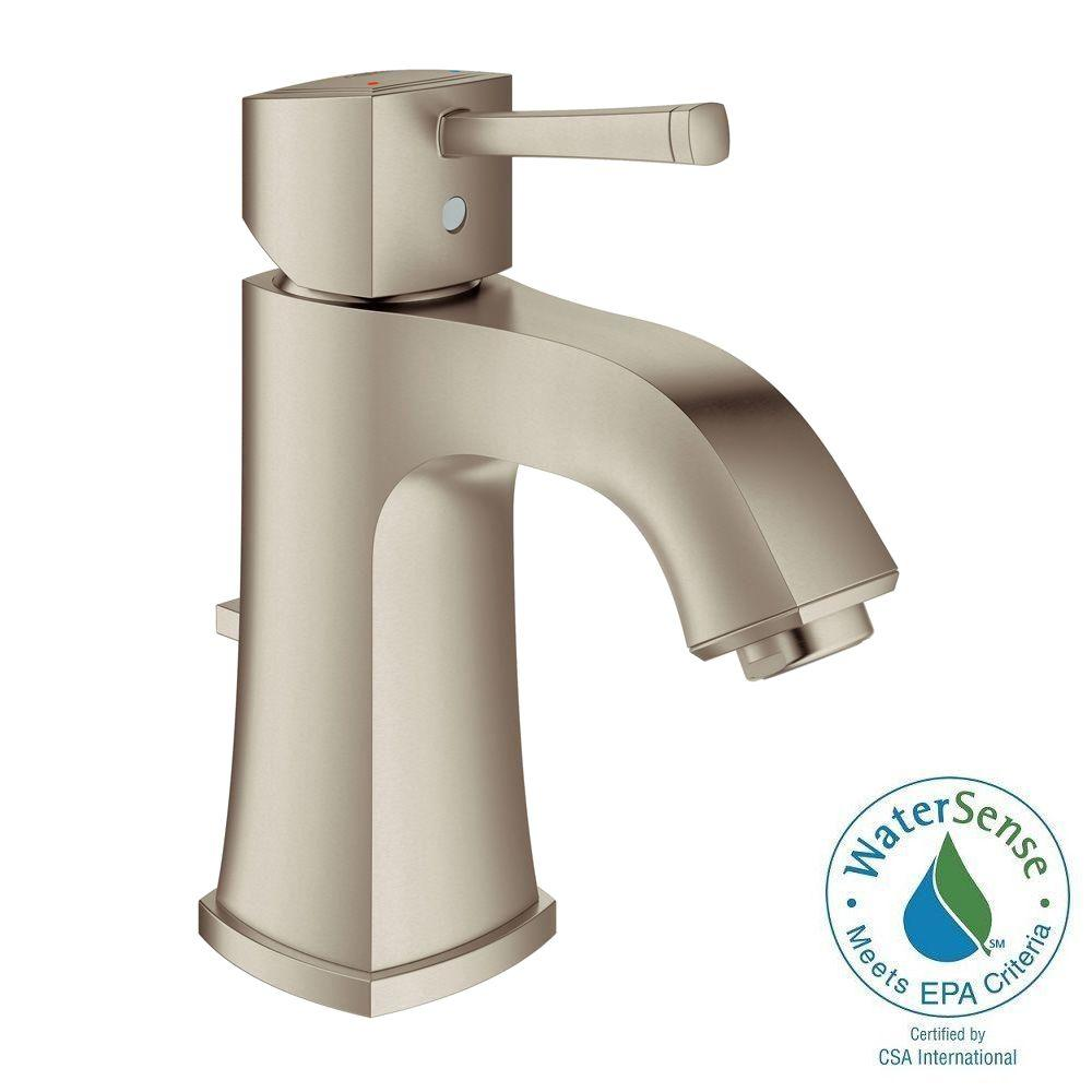 GROHE Grandera Deck-Mount 4 in. Centerset Single-Handle Low Arc Bathroom Faucet in Brushed Nickel Infinity Finish
