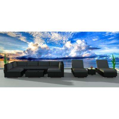 Black Series 10-Piece Wicker Outdoor Sectional Seating Set with Gray Cushions