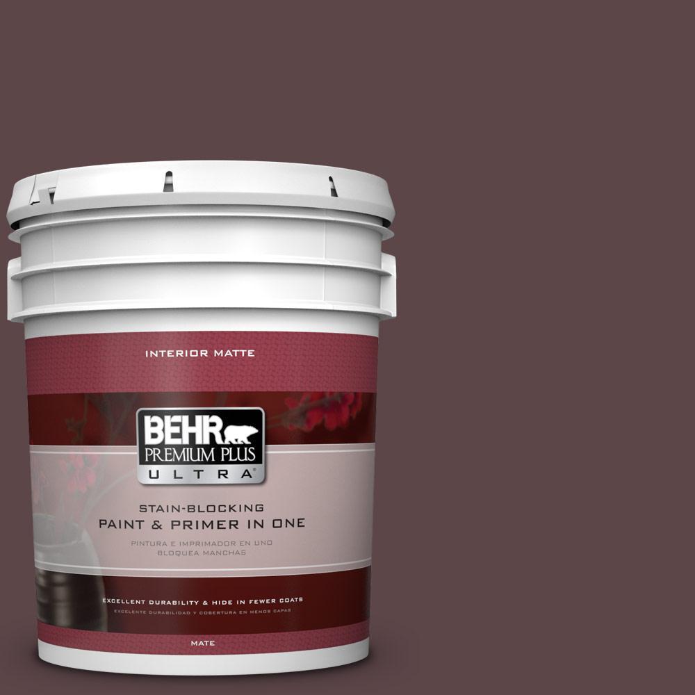 BEHR Premium Plus Ultra 5 gal. #BNC-31 Mahogany Spice Matte Interior Paint