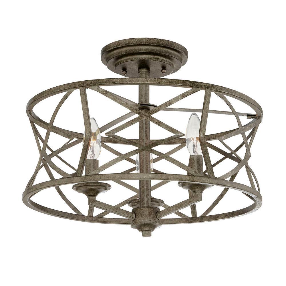 Millennium Lighting 3-Light Antique Silver Semi-Flush Mount Light