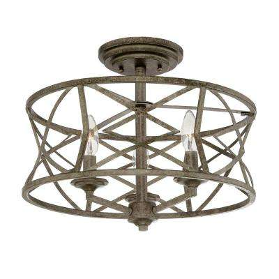3-Light Antique Silver Semi-Flush Mount Light
