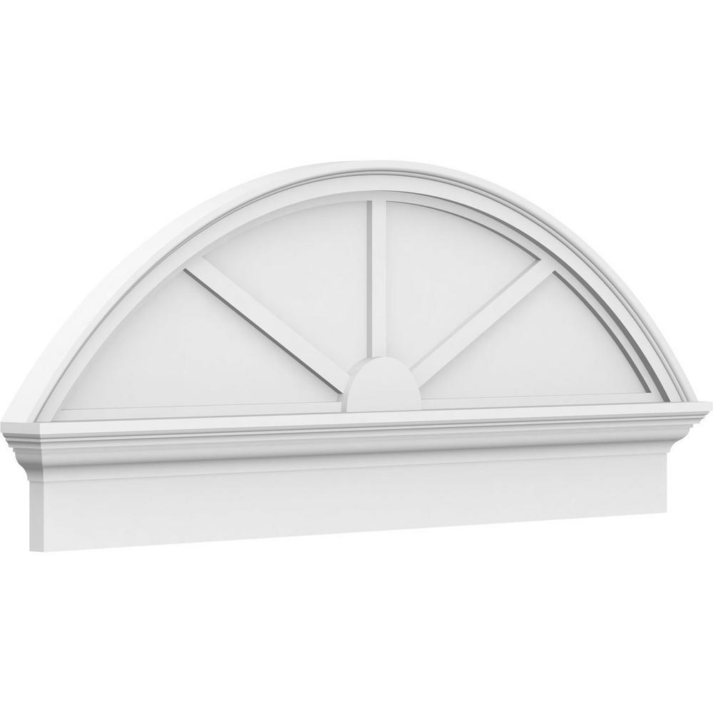 2-3/4 in. x 86 in. x 28-3/8 in. Segment Arch 3-Spoke Architectural Grade PVC Combination Pediment Moulding