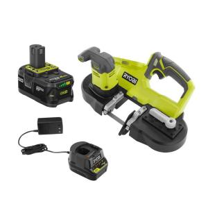 RYOBI 18-Volt ONE+ Cordless Portable Band Saw with (1) 4.0 Ah Lithium-Ion Battery and 18-Volt Charger-P590KN - The Home Depot
