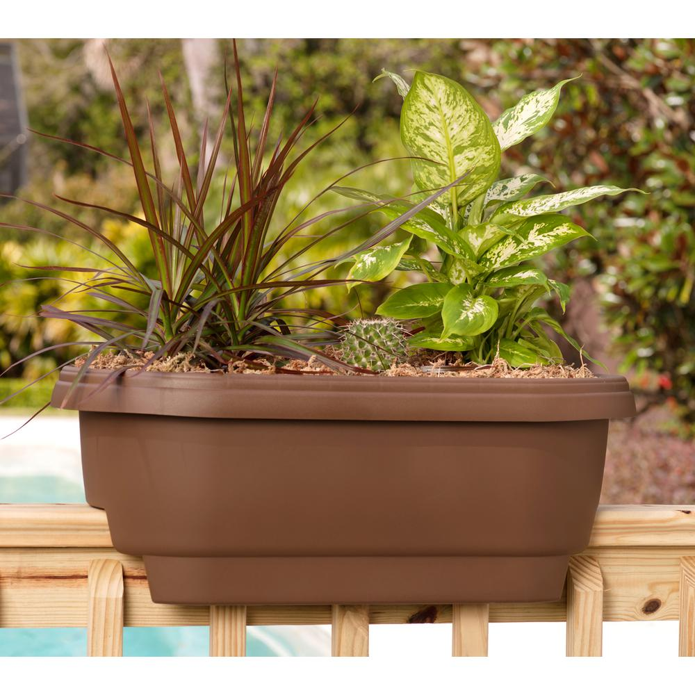 bloem deck rail planter 24 in chocolate plastic deck rail planter rh homedepot com Modern Railing Planter Garden Bridges Home Depot