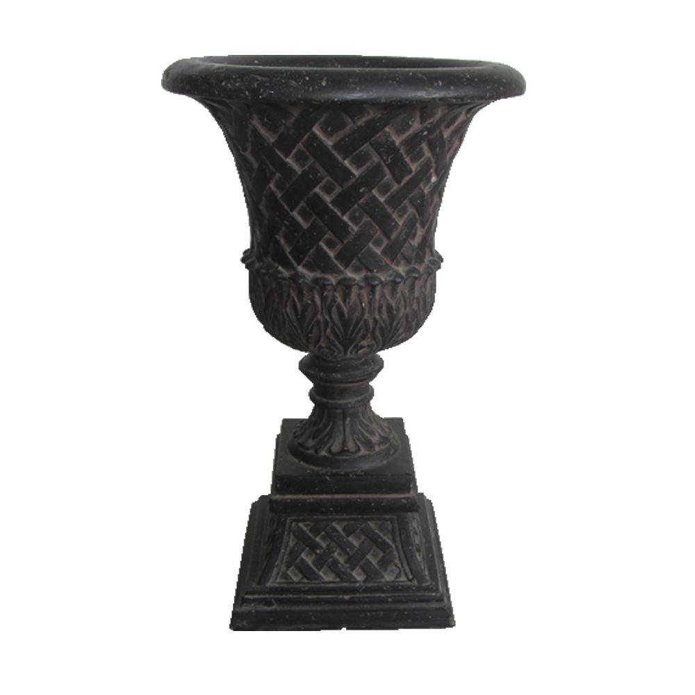 Urns pots planters the home depot cast stone lattice urn and pedestal in aged charcoal reviewsmspy