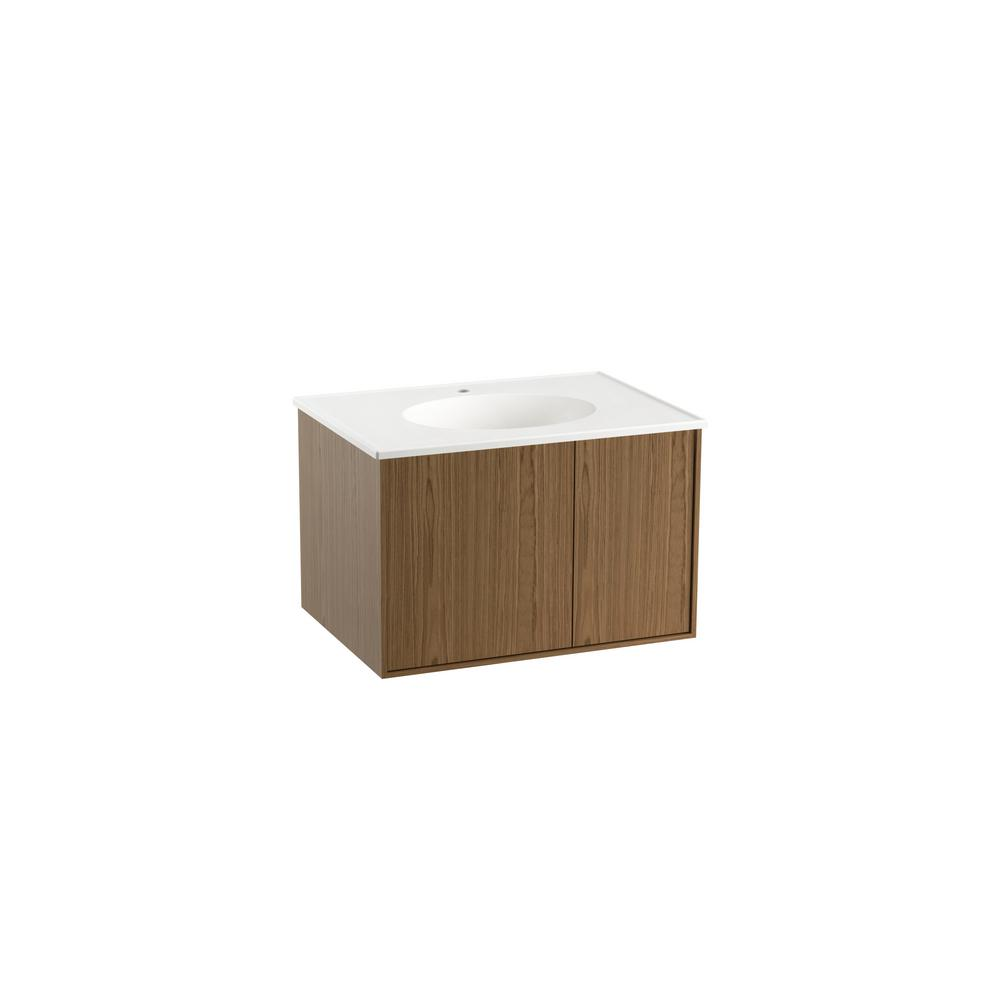 KOHLER Jute In W WallHung Vanity Cabinet In Walnut Flax With - Wall hung vanity cabinets