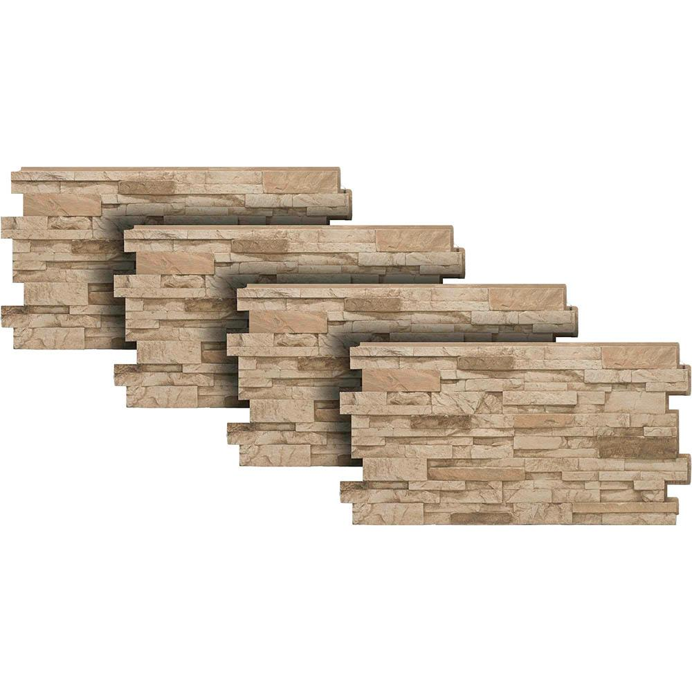 Urestone Stacked Stone #35 Desert Tan 24 in. x 48 in. Stone Veneer Panel  (4-Pack)