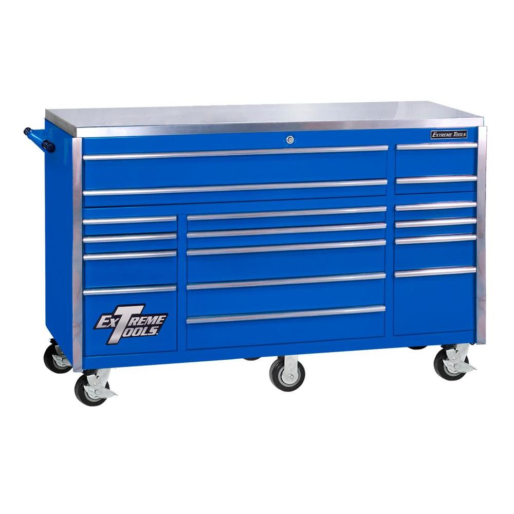 Extreme Tools 72 in. 17-Drawer Professional Roller Cabinet with Stainless Steel Work Surface, Blue