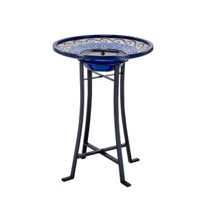 Smart Solar Mosaic Ceramic Solar Birdbath with Metal Stand by Smart Solar