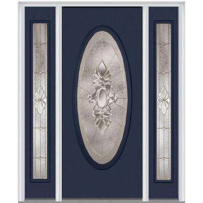 68.5 in. x 81.75 in. Heirlooms Right-Hand Inswing Oval Lite Decorative Fiberglass Smooth Prehung Front Door w/ Sidelites