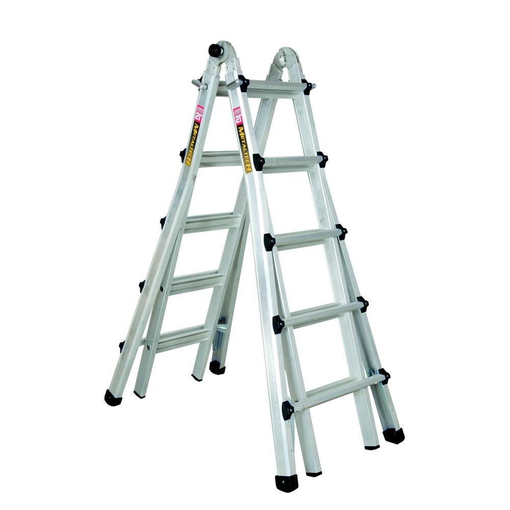 MetalTech 21 ft. Aluminum Telescoping Multi-Position Ladder with 300 lb. Load Capacity