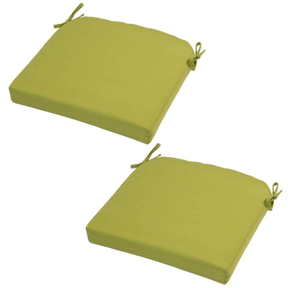 21 x 20.5 Outdoor Chair Cushion in Standard Green Solid (2-Pack)