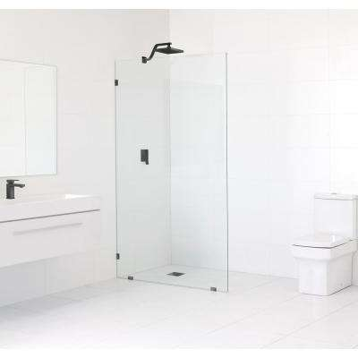 34 in. x 78 in. Frameless Fixed Shower Door in Matte Black without Handle