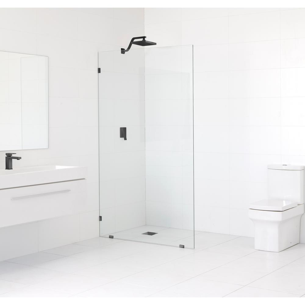 Glass Warehouse 36 in. x 78 in. Frameless Fixed Shower Door in Matte Black without Handle