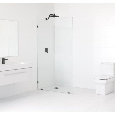60 in. x 78 in. Frameless Fixed Shower Door in Matte Black without Handle