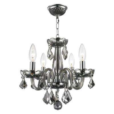 Clarion Collection 4-Light Polished Chrome Smoke Crystal Chandelier