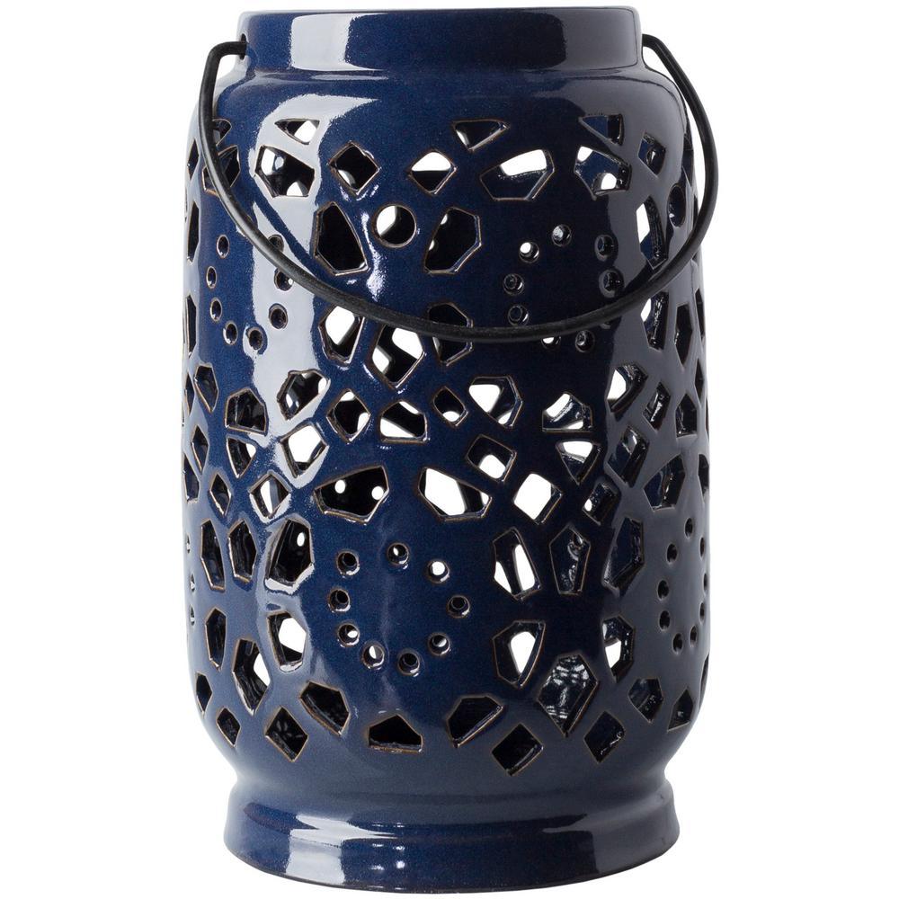 Kimba 9.4 in. Navy Ceramic Lantern