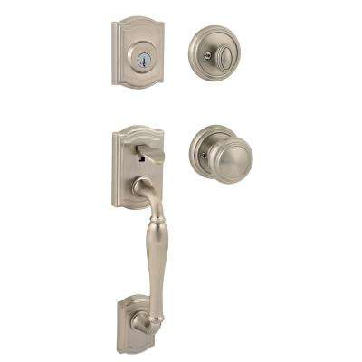 Prestige Wesley Single Cylinder Satin Nickel Handleset with Alcott Knob featuring SmartKey