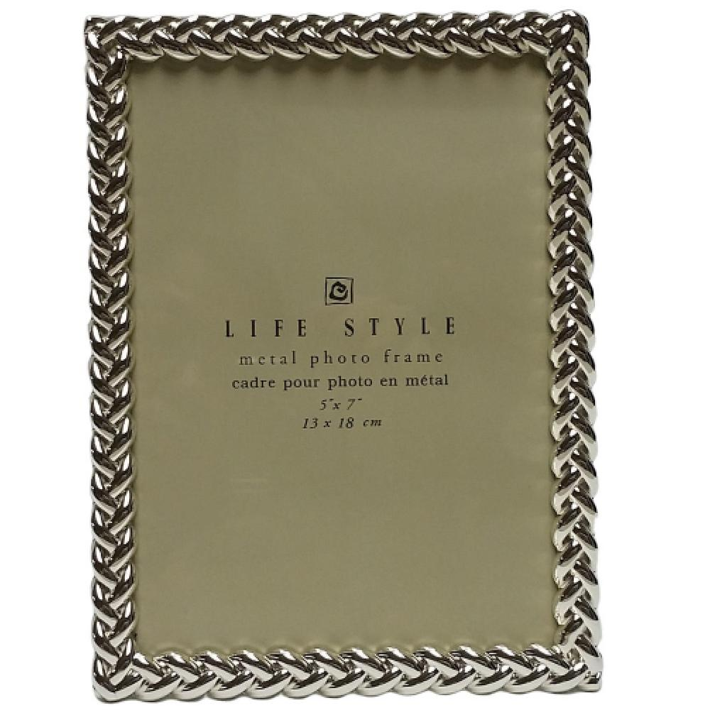 Heim Concept 5 In X 7 In Silver Knotted Border Picture Frame 81525 The Home Depot