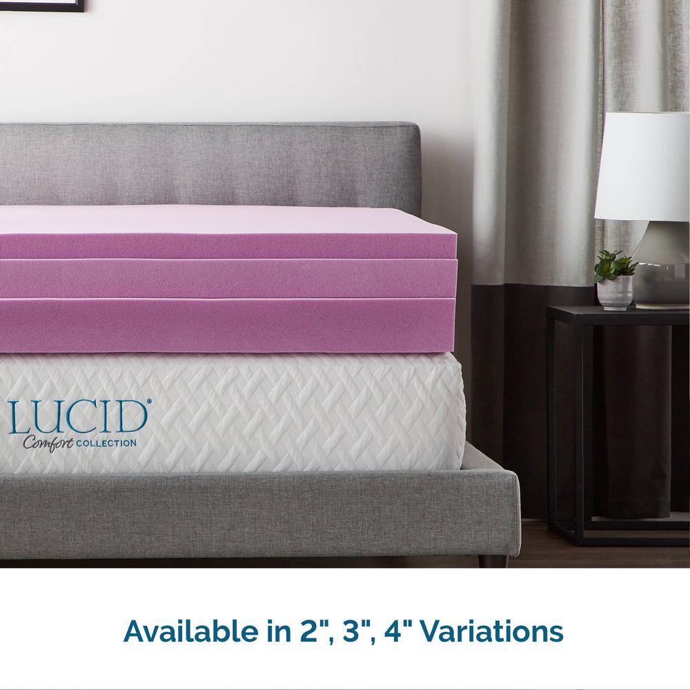 LUCID 2 inch Lavender Infused Memory Foam Mattress Topper Twin Full Queen King