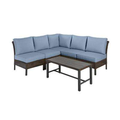 Harper Creek Brown 6-Piece Steel Outdoor Patio Sectional Sofa Seating Set w/ Sunbrella Denim Blue Cushions
