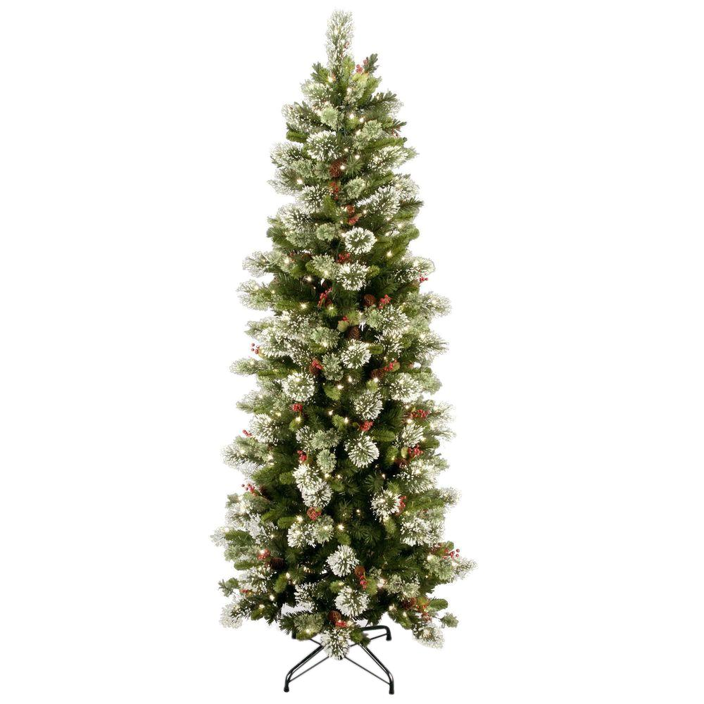 7 Foot Lighted Christmas Tree: National Tree Company 7-1/2 Ft. Wintry Pine Slim Hinged