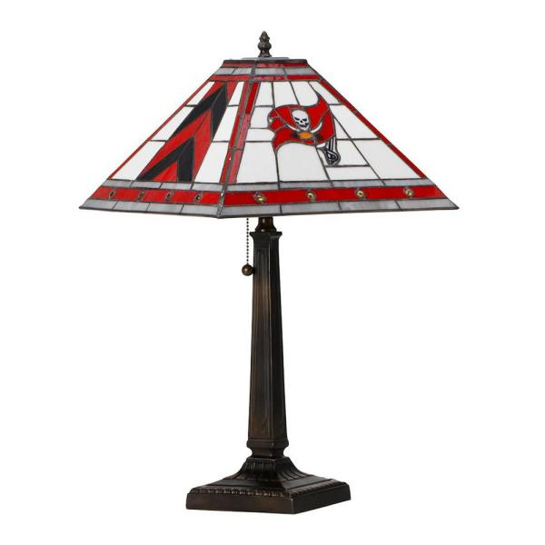 NFL 23 in. Antique Bronze Stained Glass Tampa Bay Bedside Lamp