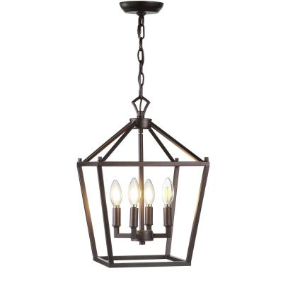 Pagoda 12 in. 4-Bulb Oil Rubbed Bronze Lantern Metal LED Pendant