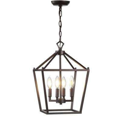 Paa 12 In 4 Bulb Oil Rubbed Bronze Lantern Metal Led Pendant