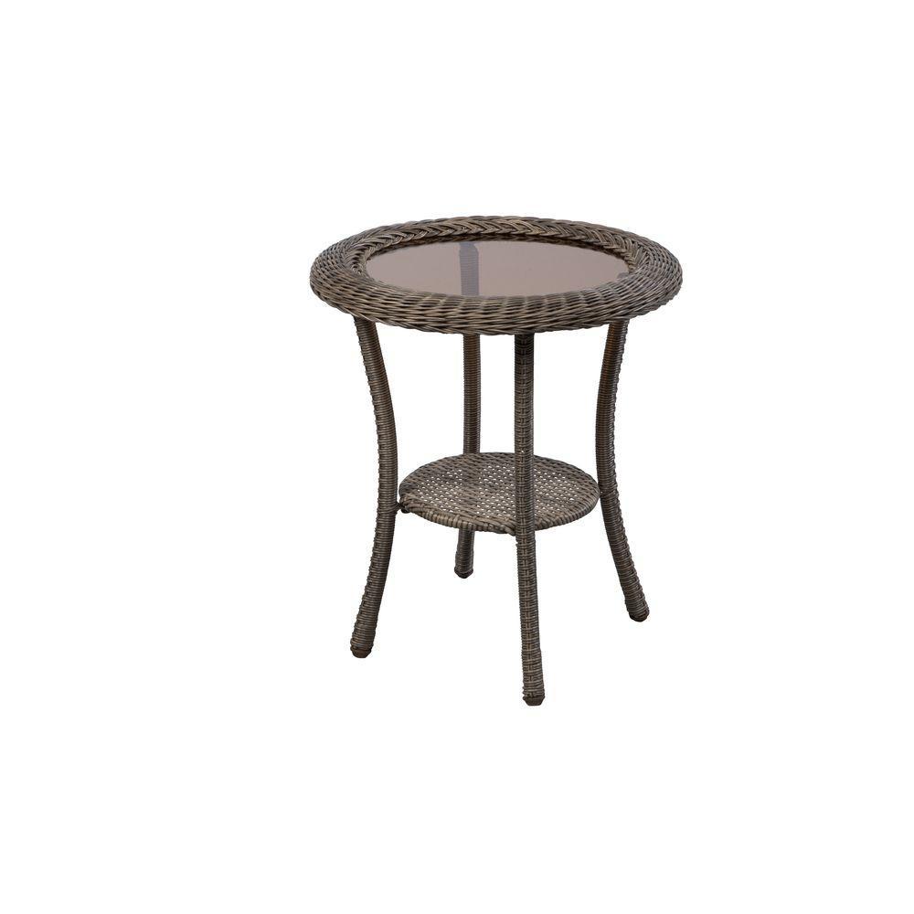 Hampton Bay Spring Haven Grey Round Wicker Outdoor Patio Side Table