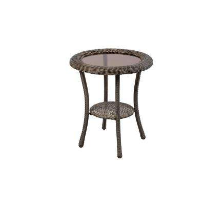 Spring Haven Grey Round Wicker Outdoor Patio Side Table