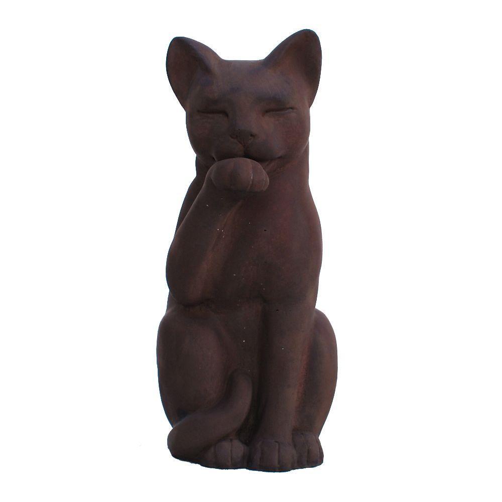 Cast Stone Contented Cat Garden Statue - Dark Walnut