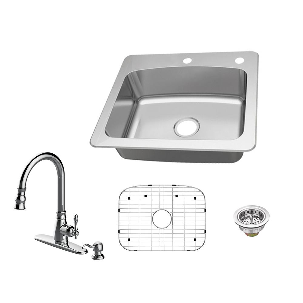 Glacier Bay All-in-One Dual Mount 18-Gauge Stainless Steel 25 in. 2-Hole Single Bowl Kitchen Sink with Pull-Out Kitchen Faucet