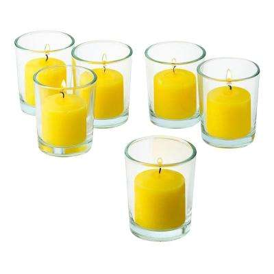 Clear Glass Round Votive Candle Holders with Citronella Yellow Votive Candles Burn 10 Hours (Set of 12)
