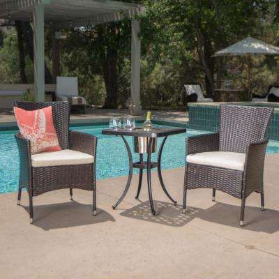 Ava Brown 3-Piece Aluminum and Wicker Square Outdoor Bistro Set with Beige Cushions
