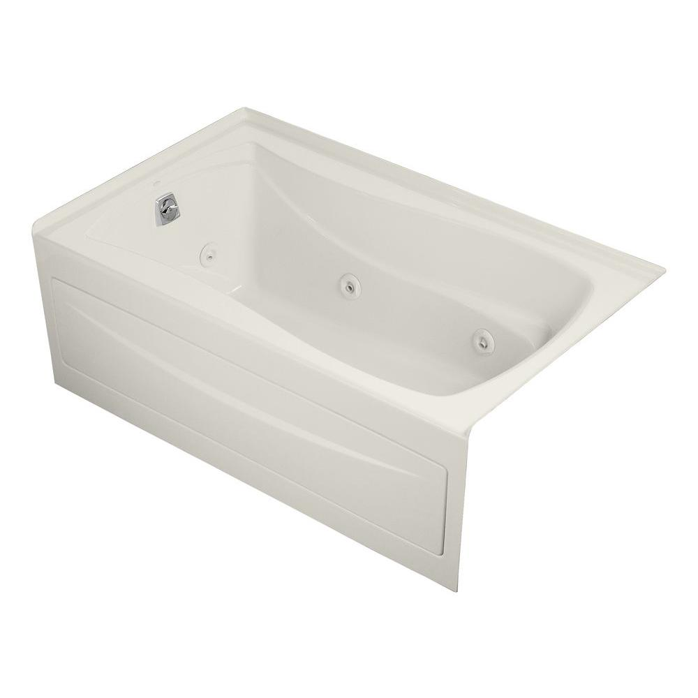 KOHLER Mariposa 5 ft. Acrylic Left Drain Hourglass Rectangular Alcove Whirlpool Bathtub in Biscuit