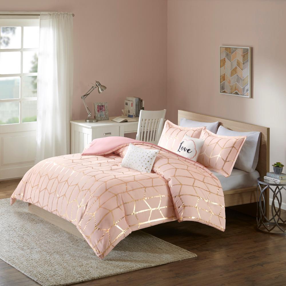 Khloe 5-Piece Blush/Gold Full/Queen Comforter Set
