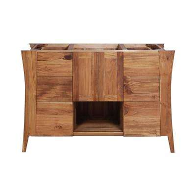 Curvature 48 in. L Teak Vanity Cabinet Only in Natural Teak
