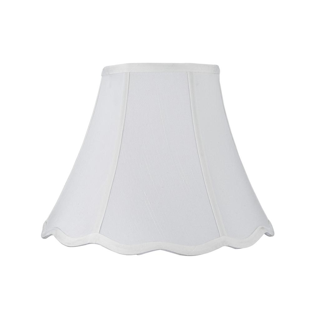 12 in. x 9.5 in. White Hexagon Scallop Bell Lamp Shade