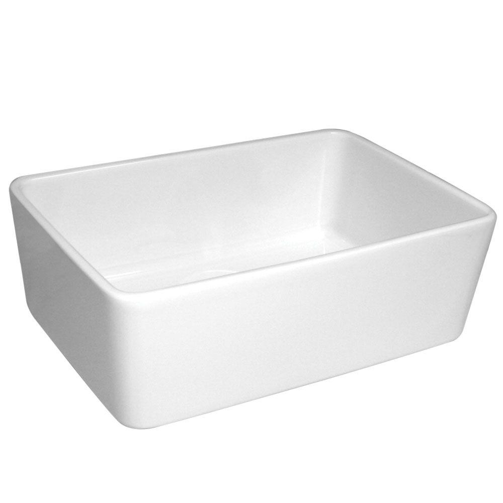 Basichaus Farmhaus Apron Front Fireclay 24 in. Single Bowl Kitchen Sink