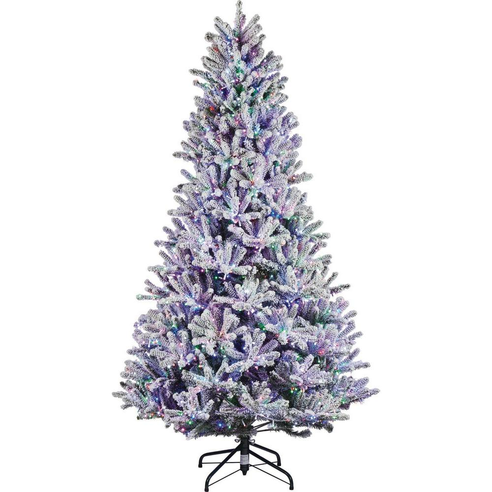 Home Accents Holiday 7.5 ft. Pre-Lit LED Starry-Light Warm White and Multi Flocked Fraser Artificial Christmas Tree with remote control