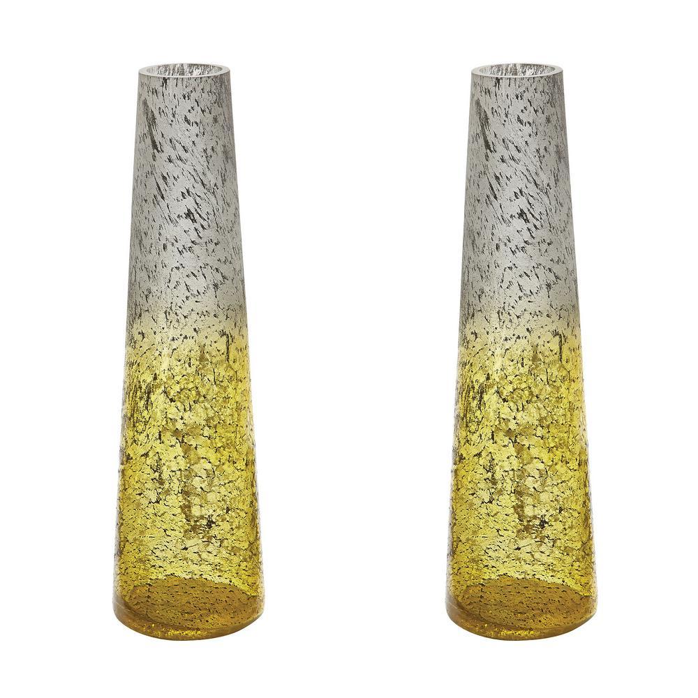 Ombre 16 in. Glass Snorkel Decorative Vase in Lemon (Set of 2)